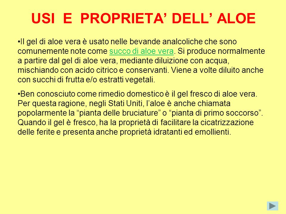 USI E PROPRIETA' DELL' ALOE