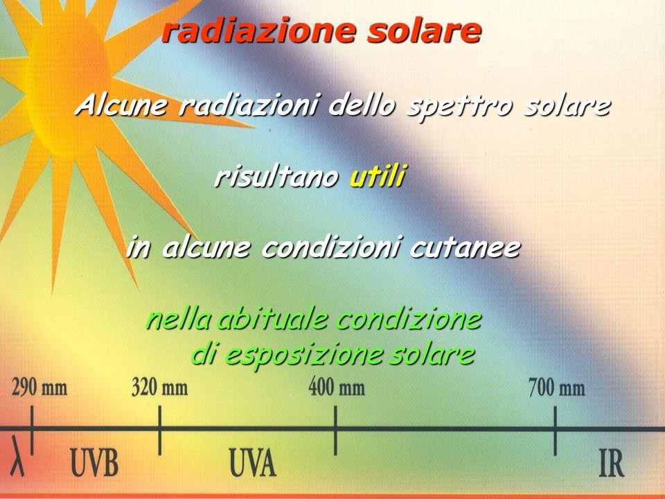 radiazione solare Alcune radiazioni dello spettro solare