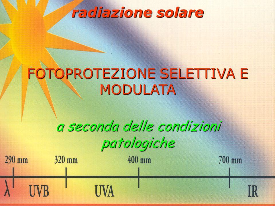 radiazione solare FOTOPROTEZIONE SELETTIVA E MODULATA a seconda delle condizioni patologiche