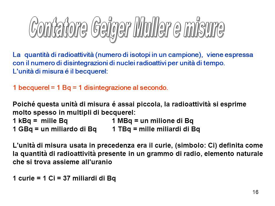 Contatore Geiger Muller e misure