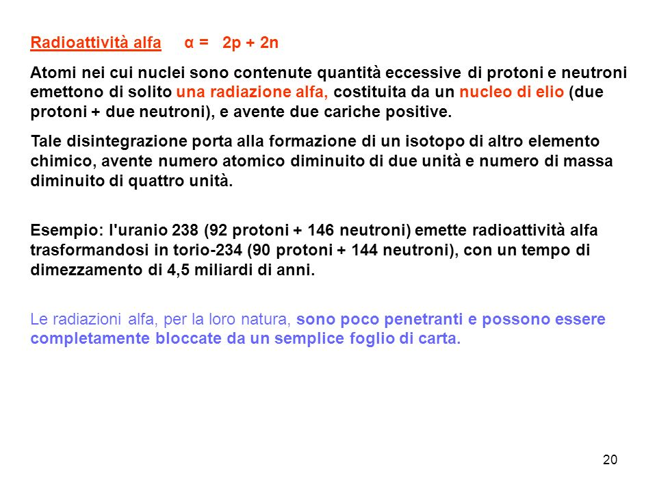 Radioattività alfa α = 2p + 2n