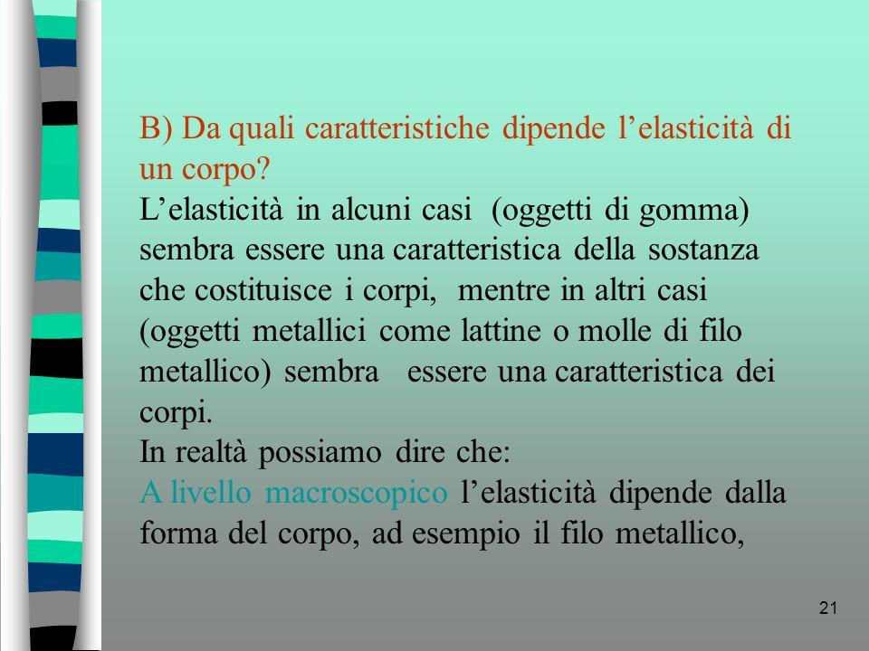 B) Da quali caratteristiche dipende l'elasticità di un corpo