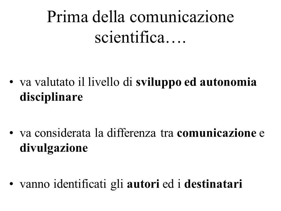 Prima della comunicazione scientifica….