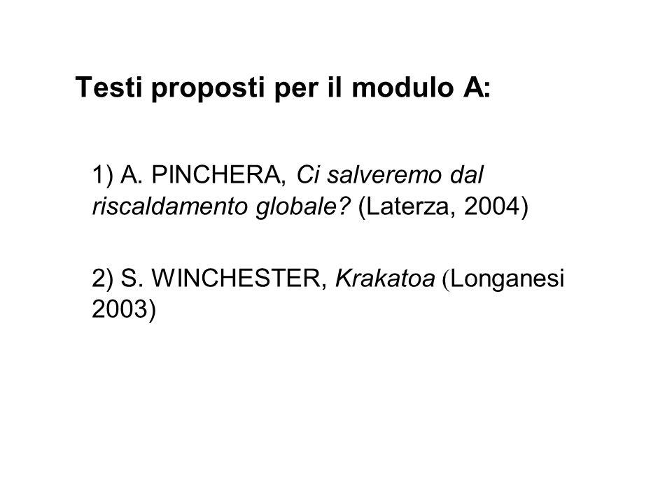 Testi proposti per il modulo A: