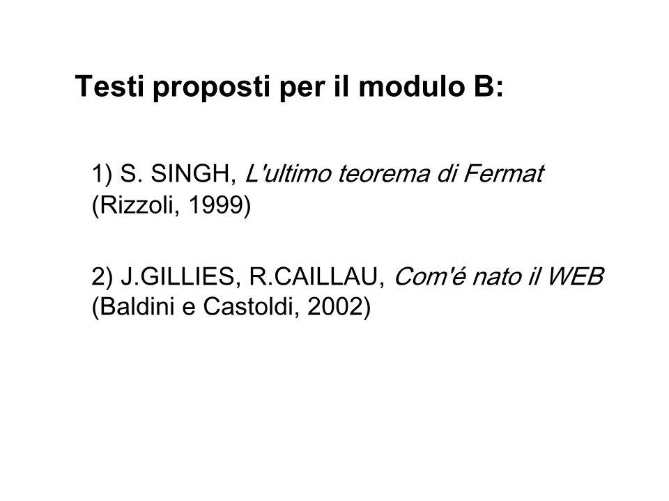 Testi proposti per il modulo B: