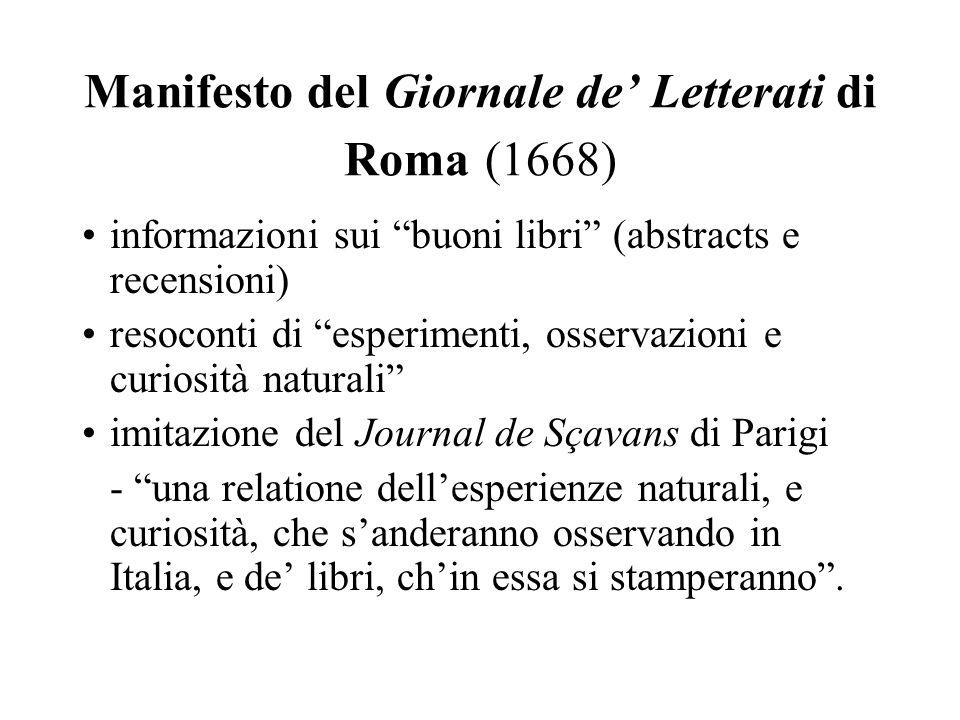 Manifesto del Giornale de' Letterati di Roma (1668)