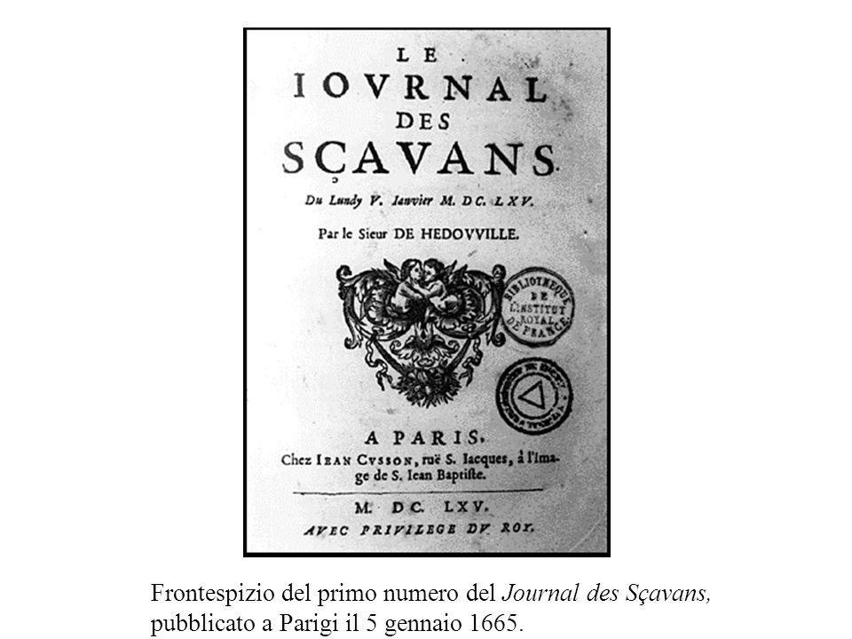 Frontespizio del primo numero del Journal des Sçavans, pubblicato a Parigi il 5 gennaio 1665.
