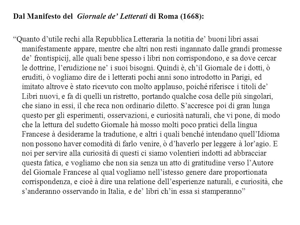 Dal Manifesto del Giornale de' Letterati di Roma (1668):