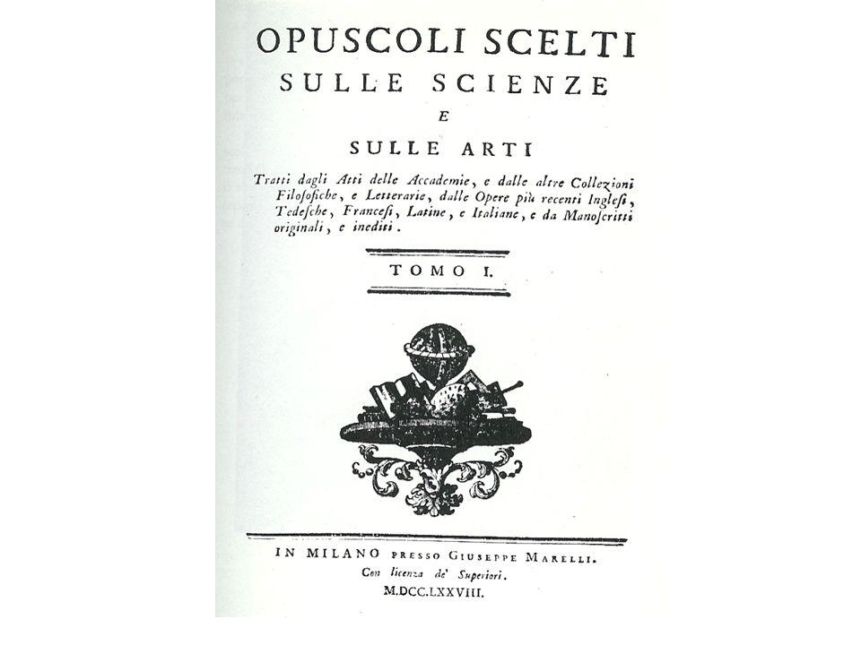 Ecco un esempio di periodico scientifico italiana di fine Settecento, comprendente articoli originali e saggi tradotti da altri periodici europei.
