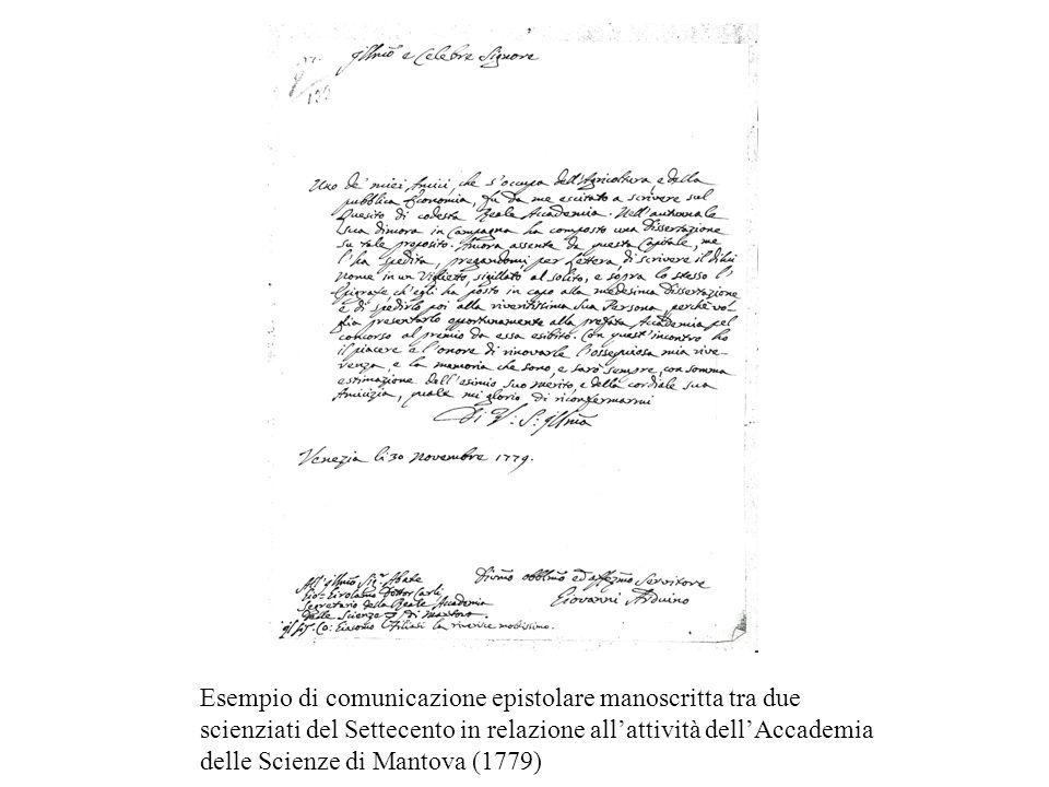 Ecco ad esempio un caso di comunicazione epistolare manoscritta tra due scienziati di fine Settecento in relazione all'attività dell'Accademia delle Scienze di Mantova.