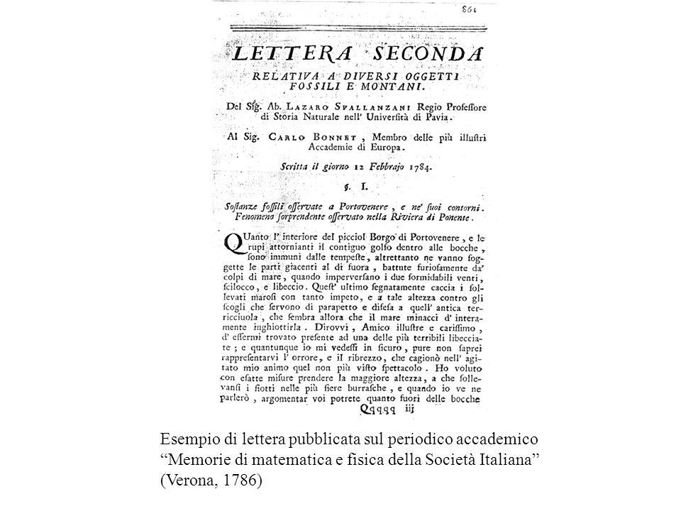 Un esempio di lettera pubblicata sul periodico accademico Memorie di matematica e fisica della Società Italiana (stampato a Verona nel 1786) contenente un saggio di argomento paleontologico scritto nel 1784 dal naturalista Lazzaro Spallanzani, professore di Storia Naturale all'Università di Pavia e indirizzato allo scienziato svizzero Charles Bonnet.