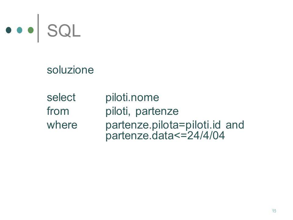SQL soluzione select piloti.nome from piloti, partenze