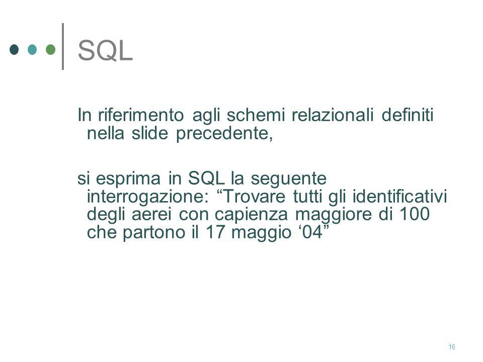 SQL In riferimento agli schemi relazionali definiti nella slide precedente,