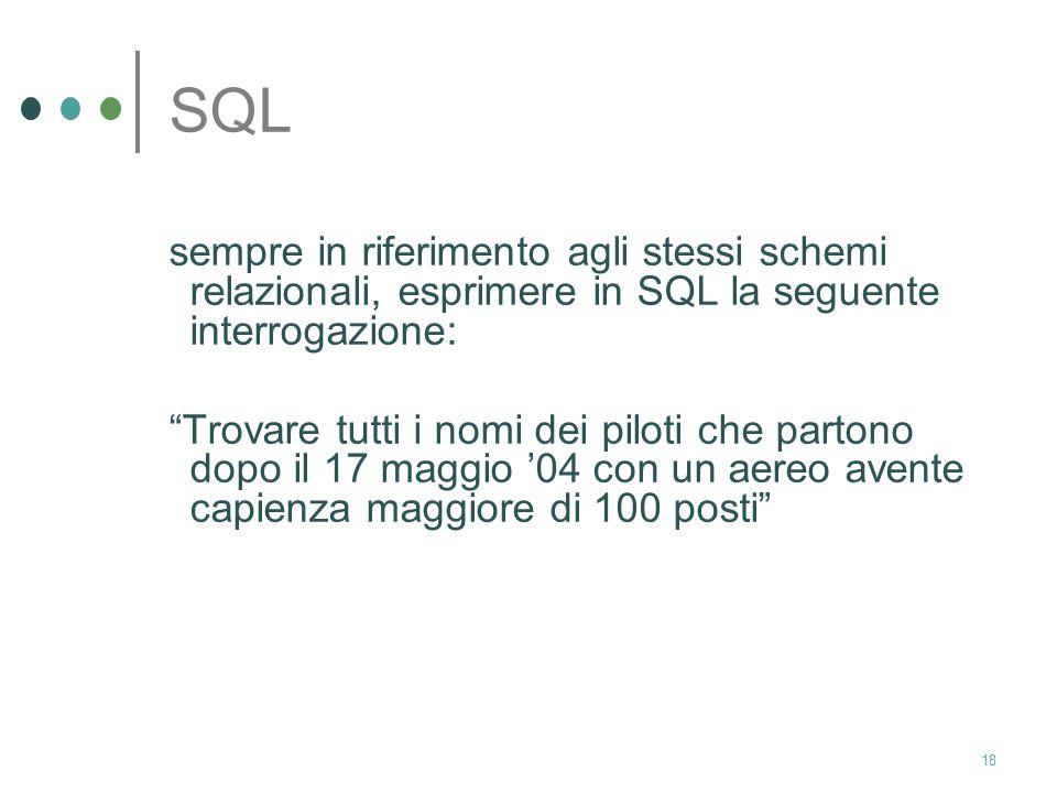 SQL sempre in riferimento agli stessi schemi relazionali, esprimere in SQL la seguente interrogazione:
