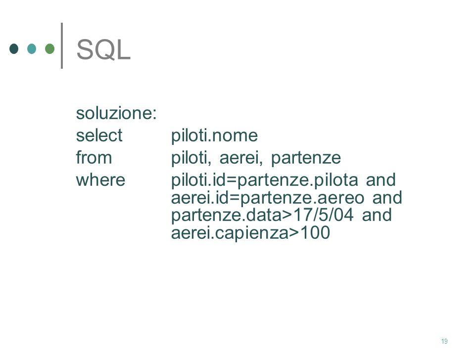 SQL soluzione: select piloti.nome from piloti, aerei, partenze