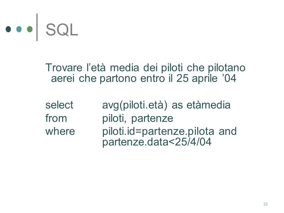 SQL Trovare l'età media dei piloti che pilotano aerei che partono entro il 25 aprile '04. select avg(piloti.età) as etàmedia.
