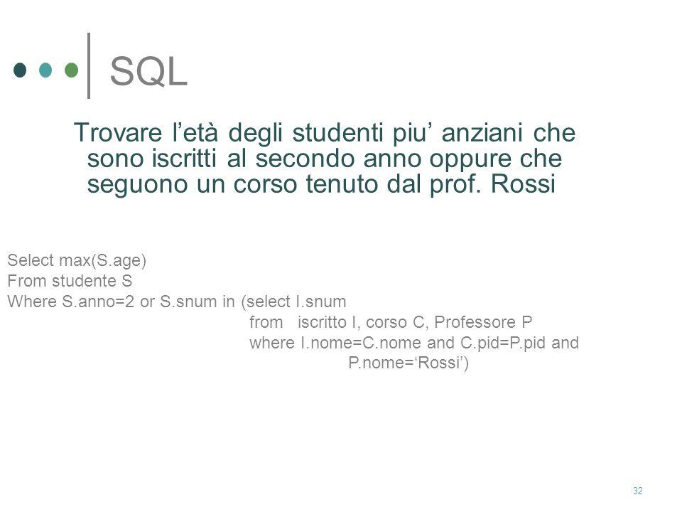 SQL Trovare l'età degli studenti piu' anziani che sono iscritti al secondo anno oppure che seguono un corso tenuto dal prof. Rossi.