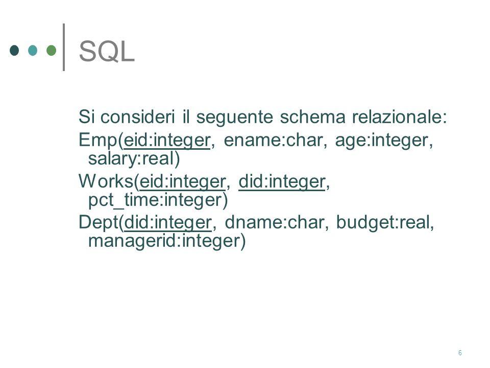 SQL Si consideri il seguente schema relazionale: