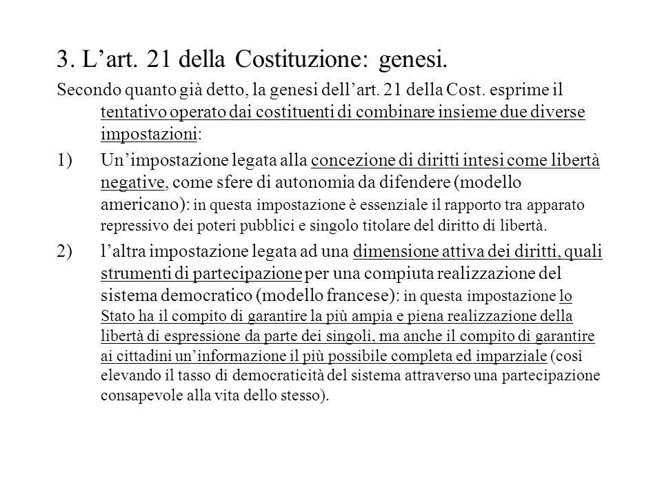 3. L'art. 21 della Costituzione: genesi.