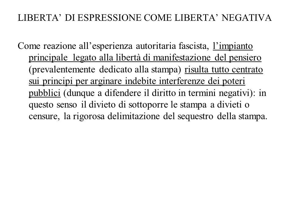 LIBERTA' DI ESPRESSIONE COME LIBERTA' NEGATIVA