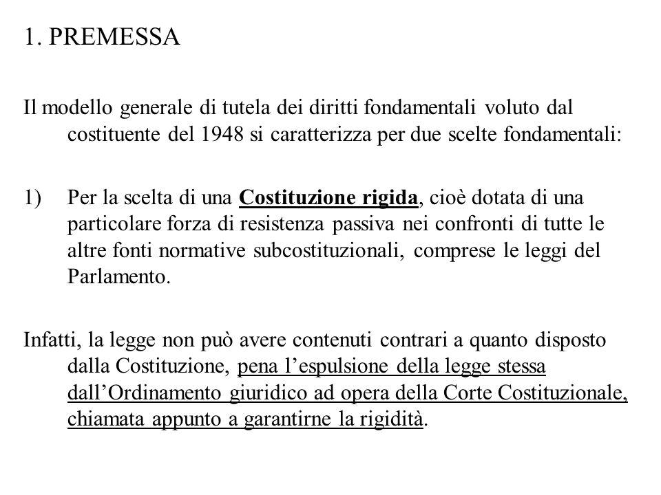 1. PREMESSA Il modello generale di tutela dei diritti fondamentali voluto dal costituente del 1948 si caratterizza per due scelte fondamentali:
