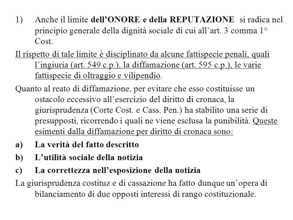 Anche il limite dell'ONORE e della REPUTAZIONE si radica nel principio generale della dignità sociale di cui all'art. 3 comma 1° Cost.