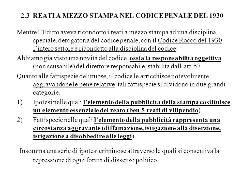 2.3 REATI A MEZZO STAMPA NEL CODICE PENALE DEL 1930