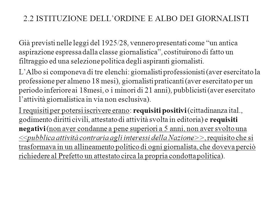 2.2 ISTITUZIONE DELL'ORDINE E ALBO DEI GIORNALISTI