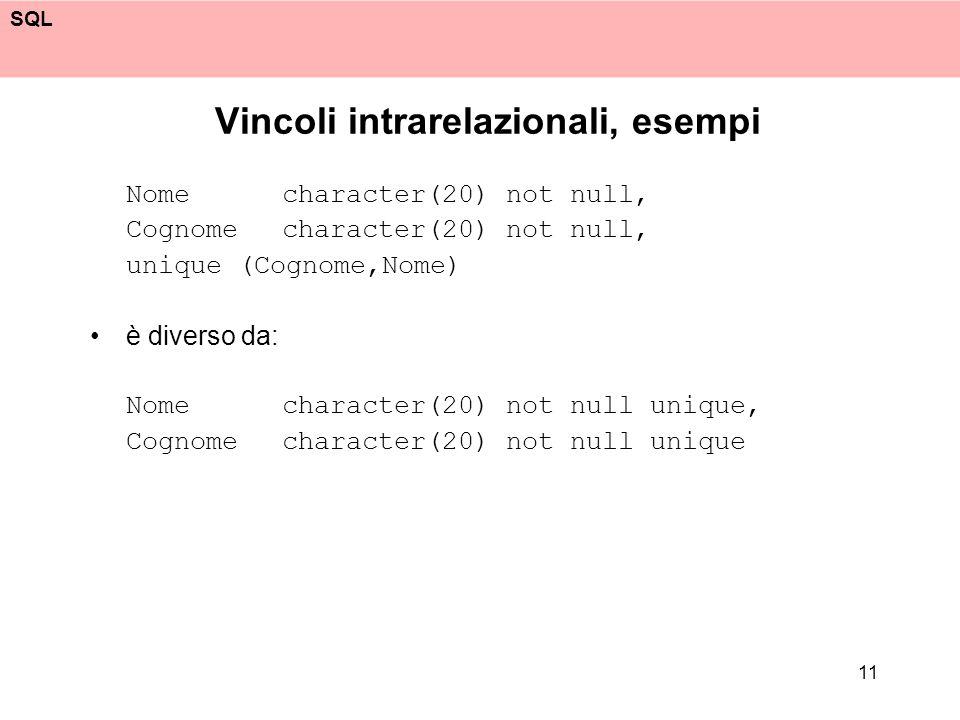 Vincoli intrarelazionali, esempi