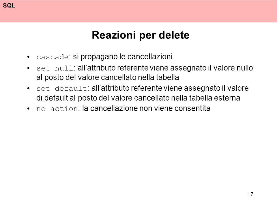 Reazioni per delete cascade: si propagano le cancellazioni