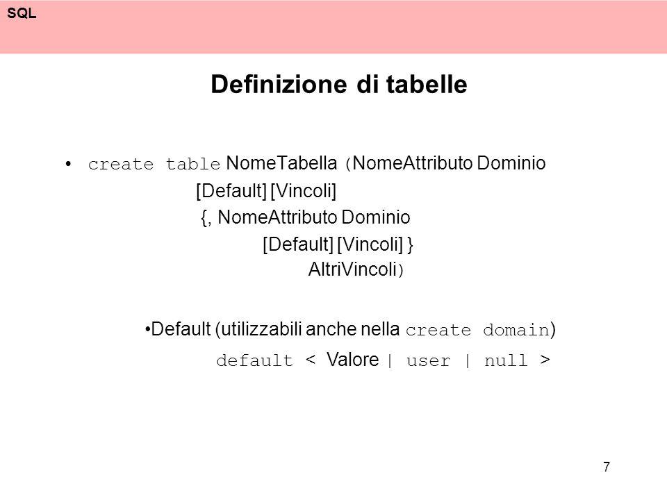 Definizione di tabelle