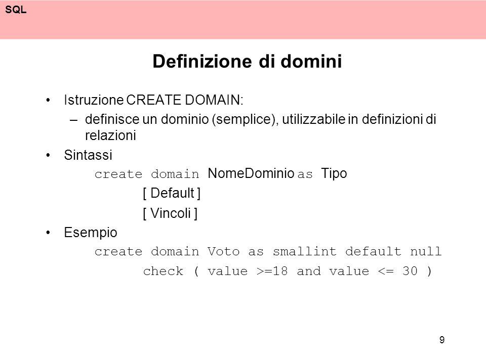 Definizione di domini Istruzione CREATE DOMAIN: