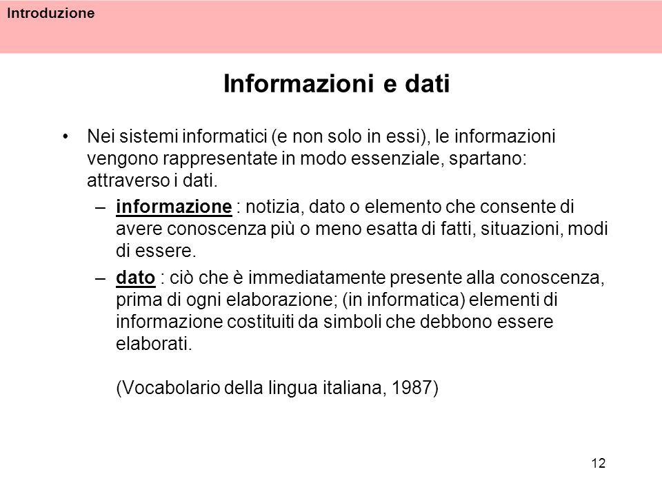 Informazioni e dati