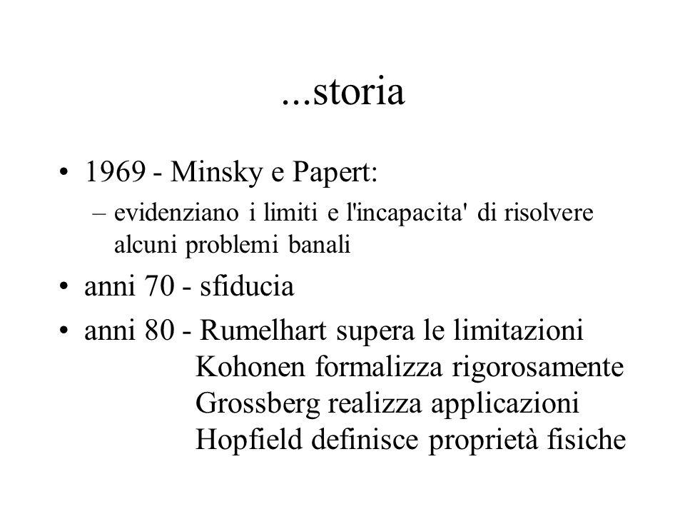 ...storia 1969 - Minsky e Papert: anni 70 - sfiducia