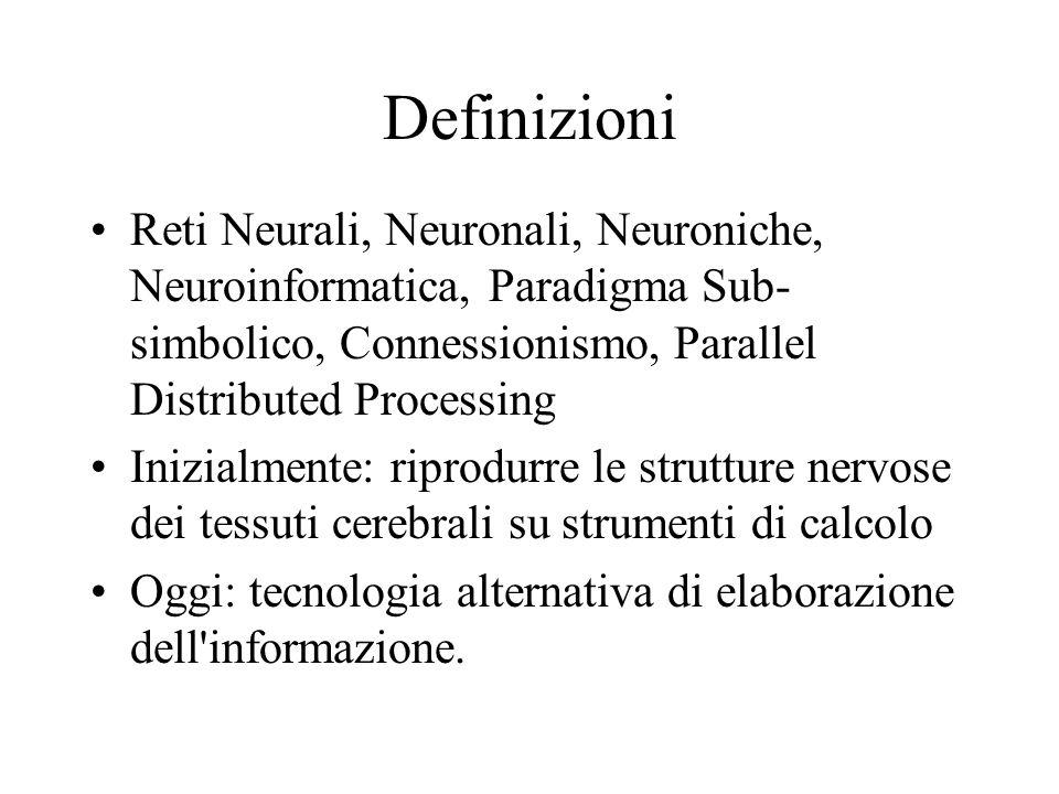 Definizioni Reti Neurali, Neuronali, Neuroniche, Neuroinformatica, Paradigma Sub-simbolico, Connessionismo, Parallel Distributed Processing.