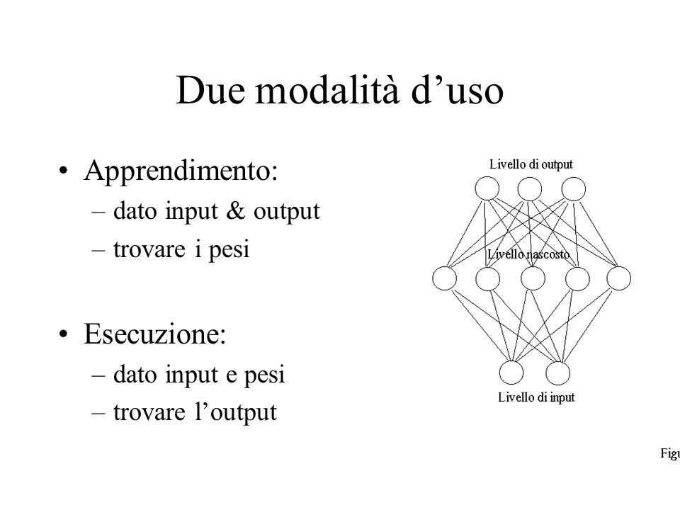 Due modalità d'uso Apprendimento: Esecuzione: dato input & output