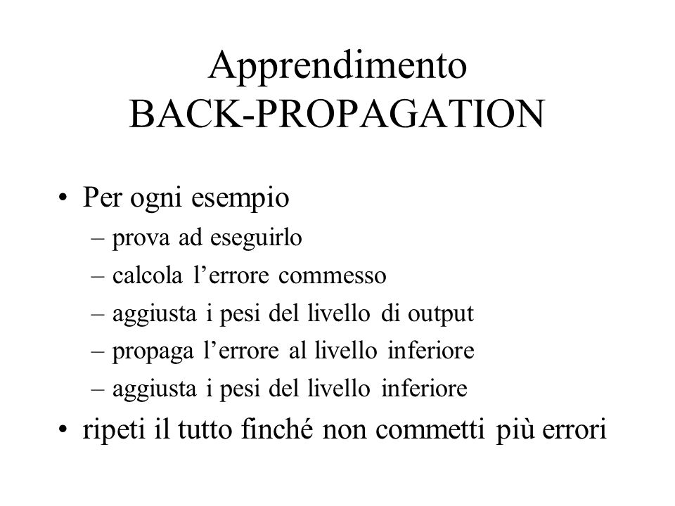 Apprendimento BACK-PROPAGATION