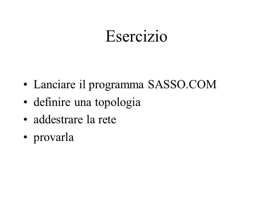 Esercizio Lanciare il programma SASSO.COM definire una topologia
