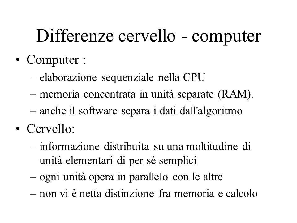Differenze cervello - computer
