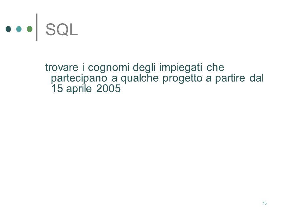 SQL trovare i cognomi degli impiegati che partecipano a qualche progetto a partire dal 15 aprile 2005.