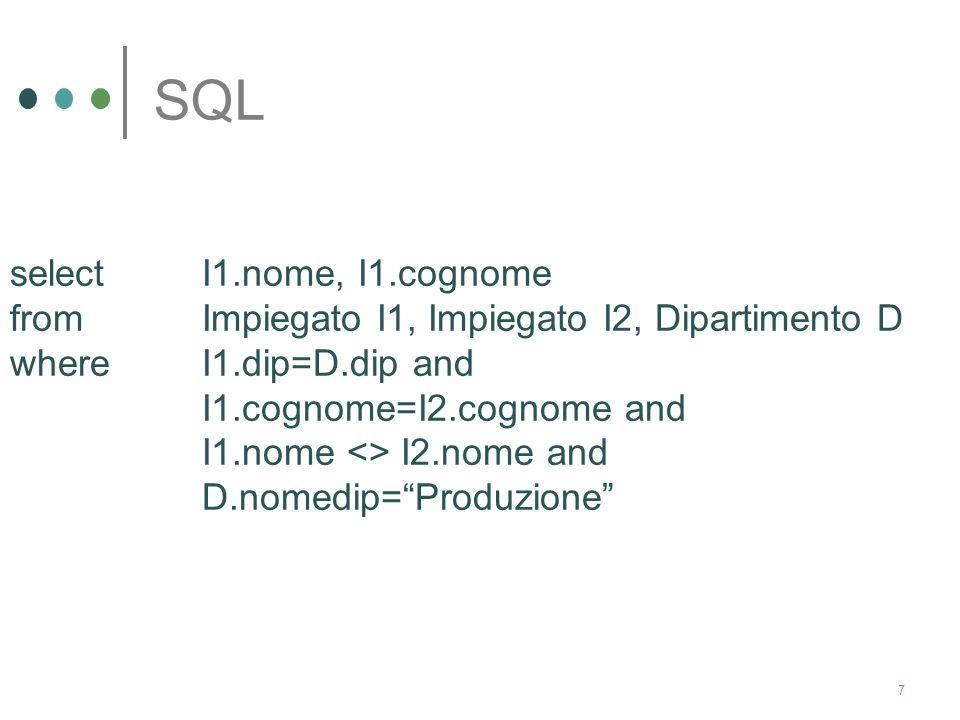SQL select I1.nome, I1.cognome