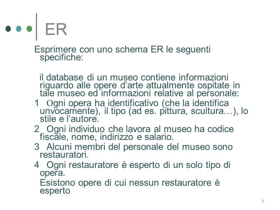 ER Esprimere con uno schema ER le seguenti specifiche:
