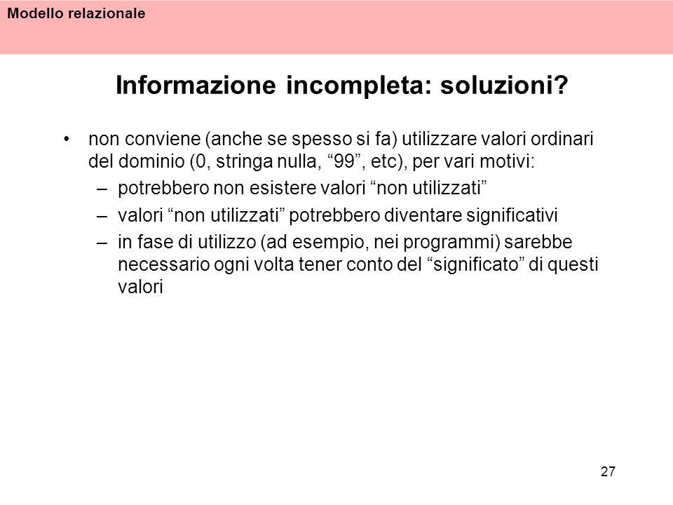 Informazione incompleta: soluzioni