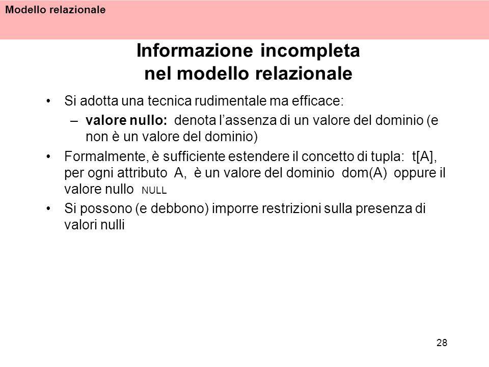 Informazione incompleta nel modello relazionale