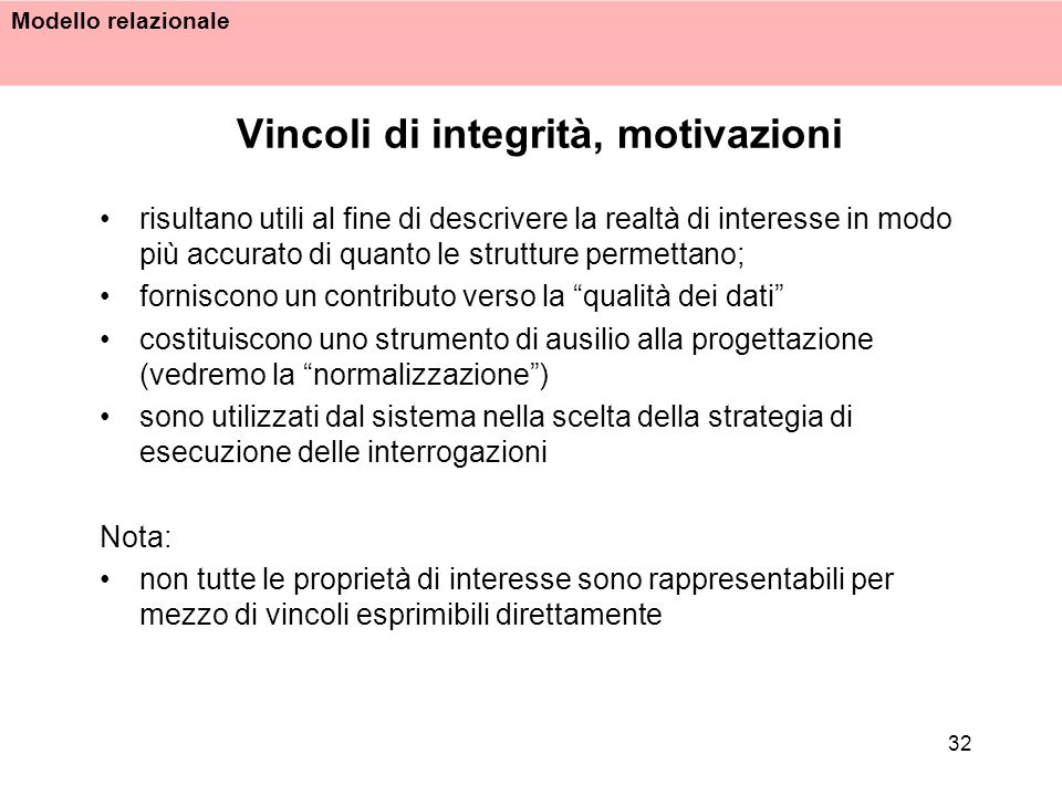 Vincoli di integrità, motivazioni