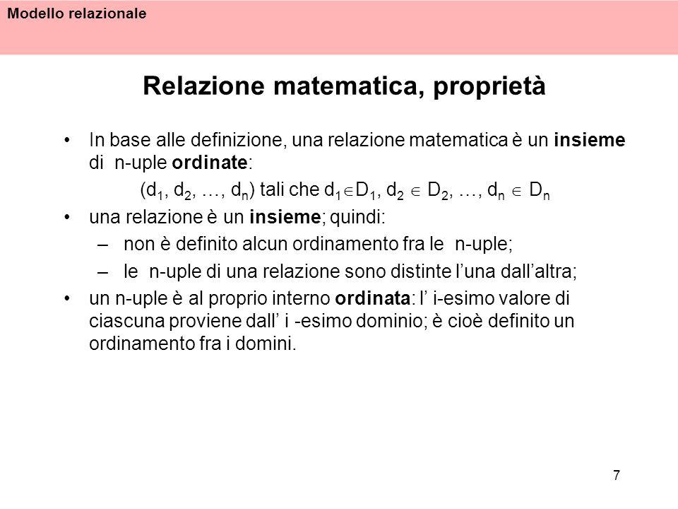 Relazione matematica, proprietà