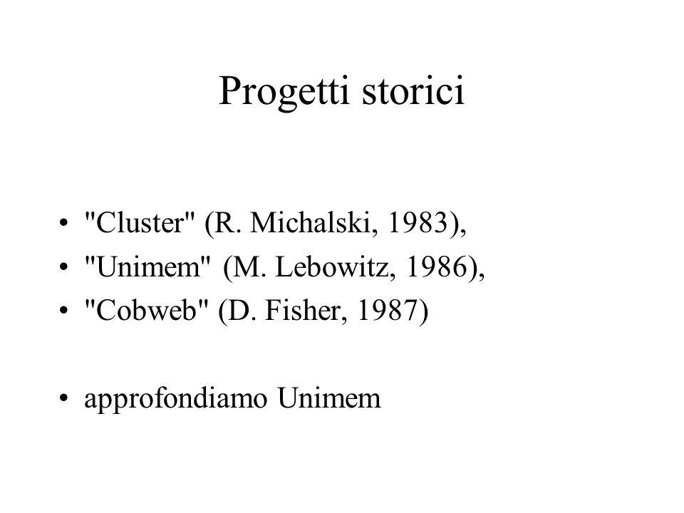 Progetti storici Cluster (R. Michalski, 1983),