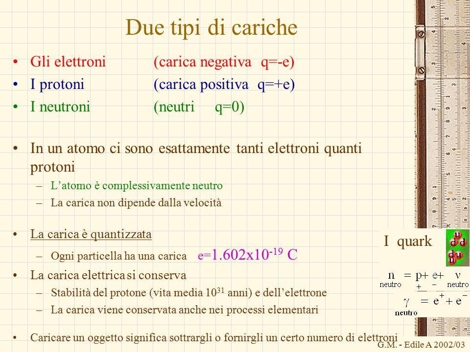 Due tipi di cariche Gli elettroni (carica negativa q=-e)