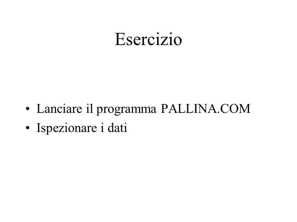 Esercizio Lanciare il programma PALLINA.COM Ispezionare i dati