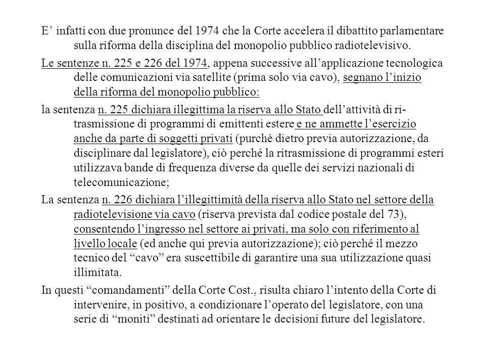 E' infatti con due pronunce del 1974 che la Corte accelera il dibattito parlamentare sulla riforma della disciplina del monopolio pubblico radiotelevisivo.